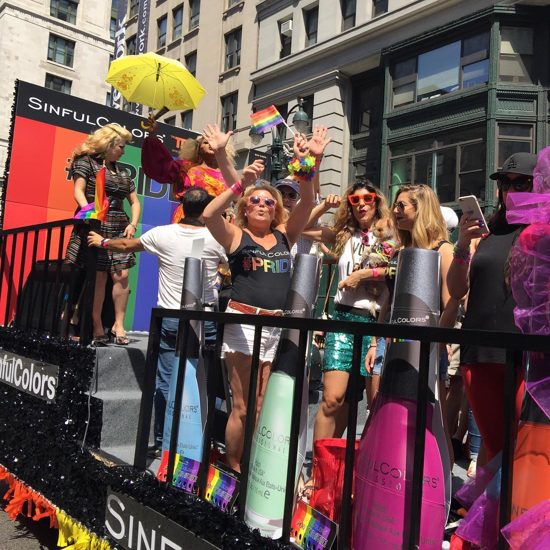 On a float #pride #sinfulcolors