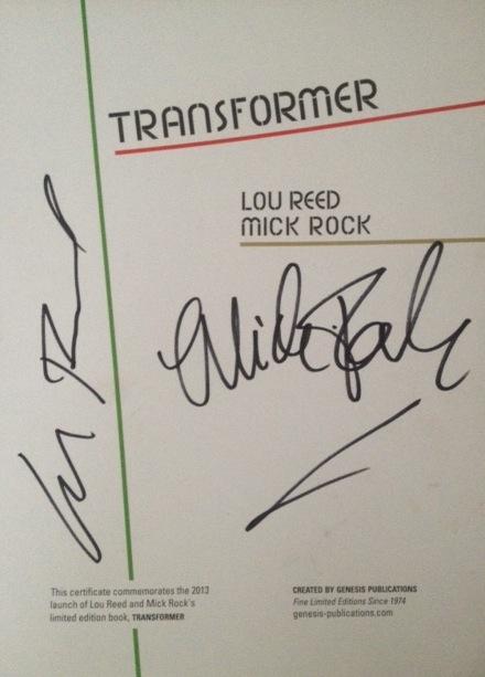 Mick Rock. Lou Reed autograph