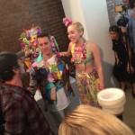jeremy scott and miley cyrus backstage at fashion week