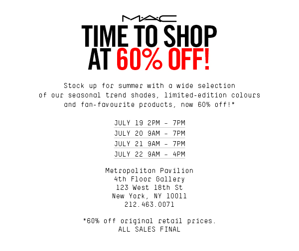 mac cosmetic sample sale nyc