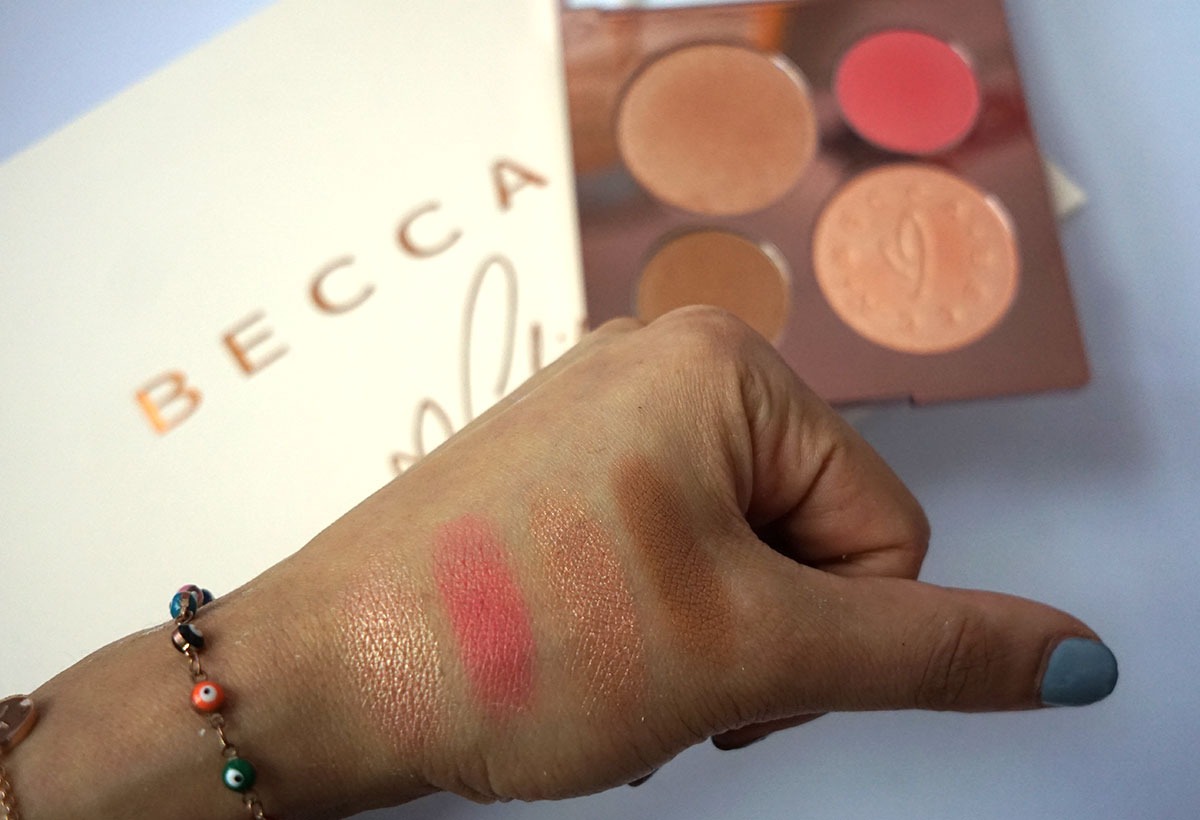Chrissy Teigan x Becca face palette swatches