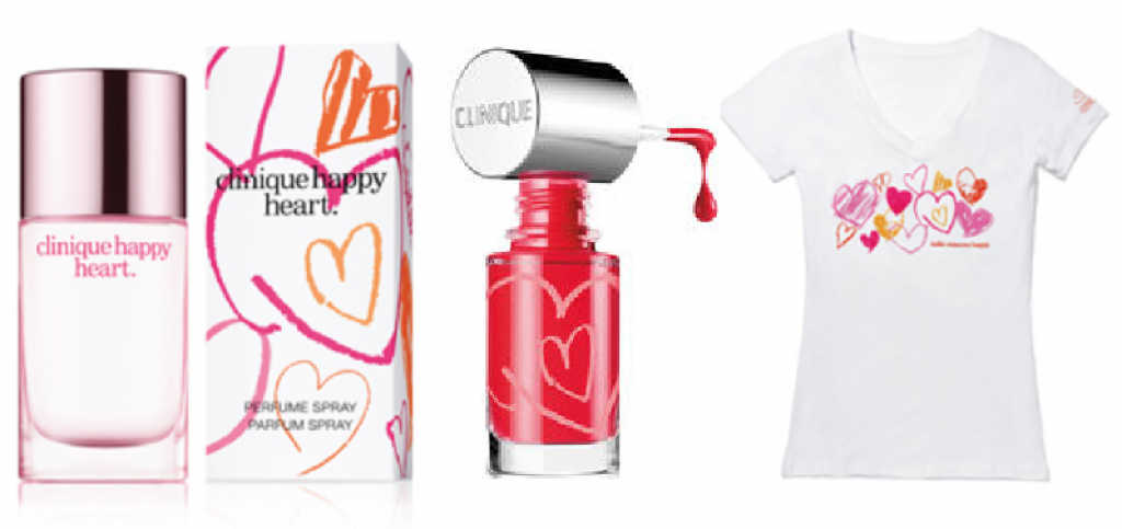 Happy Heart Fragrance, 30ml ($10 donated), A Different Nail Enamel in Happy Heart, ($3 donated), Make Someone Happy Tee Shirt, ($5 donated)