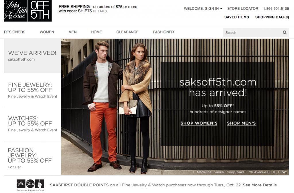 Saks Off Fifth website