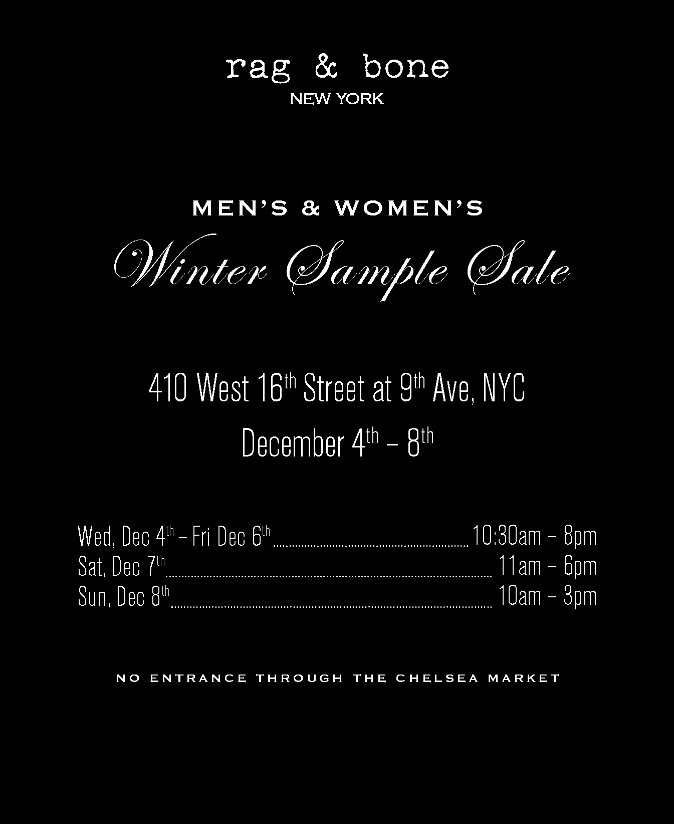 The rag & bone sample sale is still well-stocked going into the.