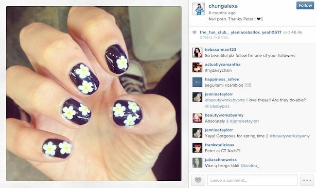 alexa chung flower manicure