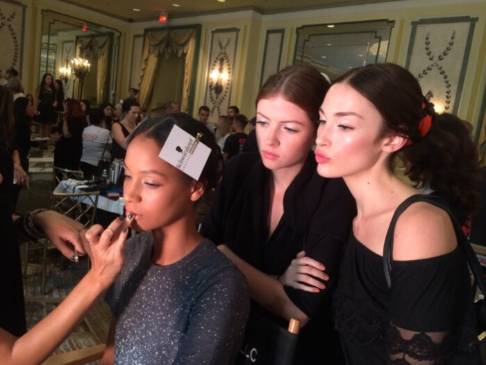 models backstage at Alice and Olivia
