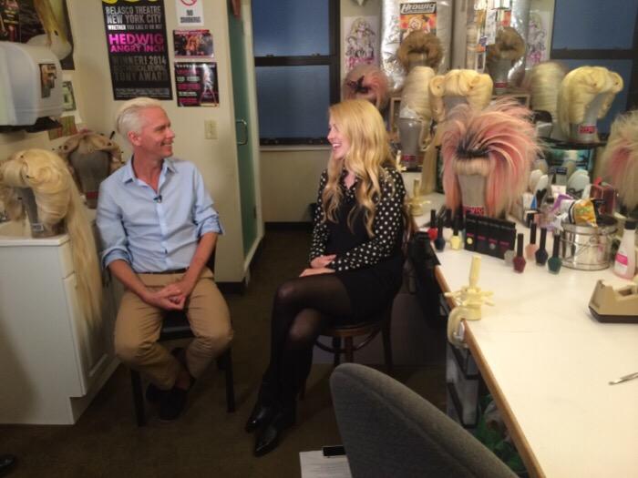 Mike Potter on set with POPSUGAR