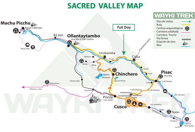 sacred valley machu picchu cusco map
