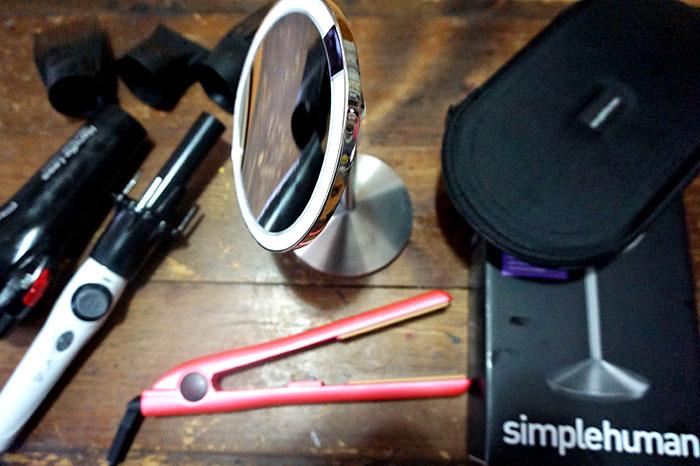 simple human mirror, chi flat iron