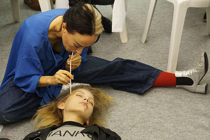 alex box issey miyake backstage with mac cosmetics