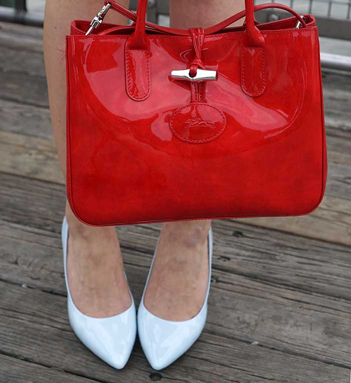 longchamp-coated-oatent-leather-red-bag-rockport-heelps-pumps-blue