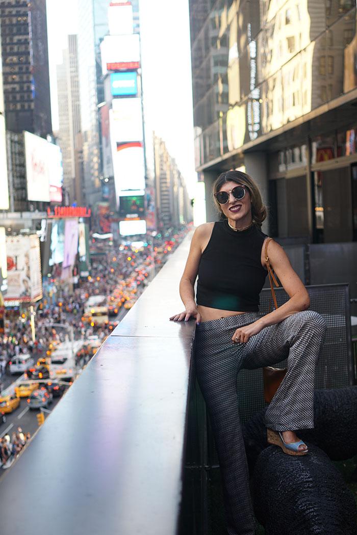 perverse-sunglasses-times-square-renaissance-hotel-h&m-black-crop-top-ella-moss-pants