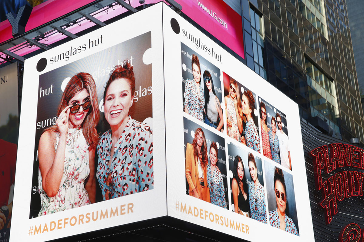 Lara Eurdolian and Sophia Bush live from Times Square sharing Sophia's top 3 sunglasses picks with Sunglass Hut