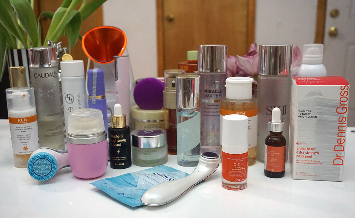 dr. dennis gross, clarisonic, eleni + Chris, Pixi, Urban RX, It Cosmetics brightening products