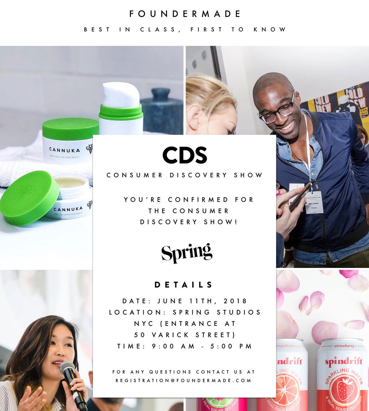 Foundermade Consumer Discover Show invitaiton